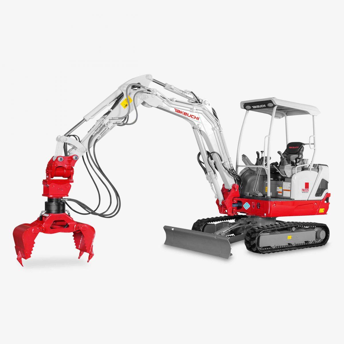 Huppenkothen Baumaschinen Bagger Minibagger Takeuchi TB225 Universalgreifer Huppgrip